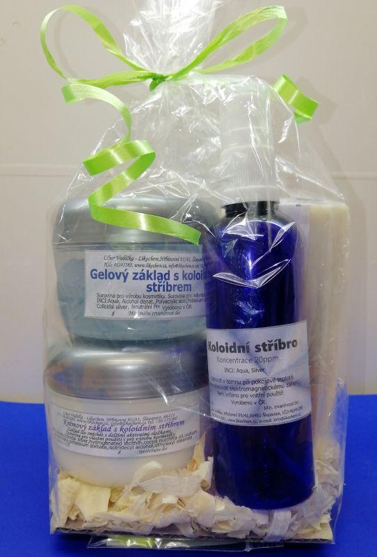 kosmetika, chemikálie Krémový, gelový základ, roztok s koloidním stříbrem, mýdlo.
